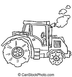 tractor doodle cartoon ilustration