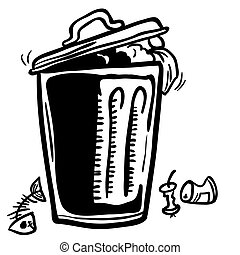 trash can with garbage around cartoon doodle