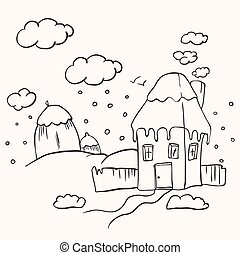 simple black and white house cartoon