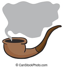 smoking pipe I - smoking pipe cartoon doodle with place for...