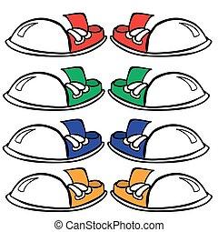 sneakers - red, green, blue and orange pair of sneakers
