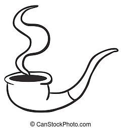 simple black and white smoking pipe cartoon