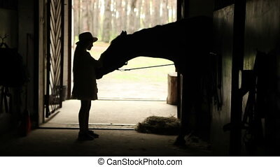 Girl playing with a horse in the stable. Backlight