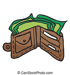 wallet full of money cartoon illustration
