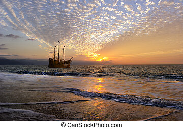 Pirate Ship is an old wooden pirate ship with full flags as...
