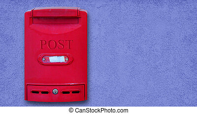 Mailbox - Photo of red mail box on blue wall