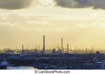 Industrial zone at sunset - Industrial zone of Rotterdam...