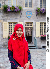 A woman travel in Old Quebec City