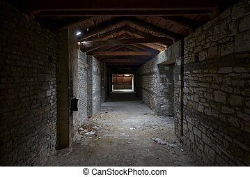 Abandoned building interior - Abandoned and desolate passage...