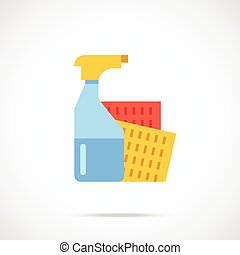 Spray bottle and sponge cloth flat icon Vector illustration