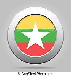 metal button with flag of Myanmar, Burma - metal button with...