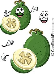 Cartoon australian feijoa fruit character - Ripe flavorful...