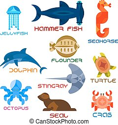 Marine animals colorful icons in flat style