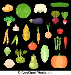 Selected healthful fresh vegetables flat icons - Bright flat...