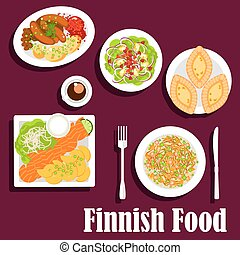 Fish and meat dishes of finnish cuisine flat icon - FIsh and...