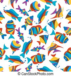 Bright colorful exotic fishes seamless pattern - Vivid...