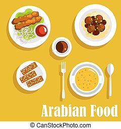 Arabian dishes with kebab, falafels, halva icon