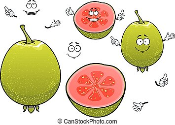 Mexican tropical cartoon guava fruits characters - Freshly...