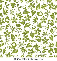Retro seamless pattern of pale green leaves
