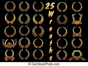 Golden laurel wreaths with ribbons and bows icons