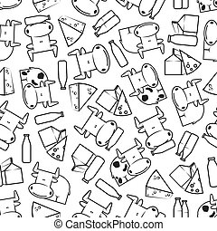 Cute cows with milk and cheese seamless pattern