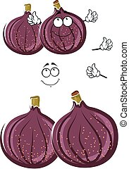 Fresh cartoon common fig fruits character - Luscious fresh...