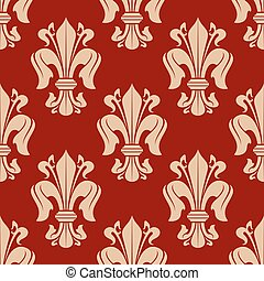 Red fleur-de-lis seamless pattern background