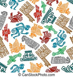 Mayan and aztec tribal totems seamless pattern - Seamless...