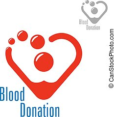 Blood donation symbol with heart made of red drops