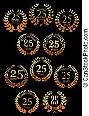 Anniversary golden heraldic laurel wreaths icons