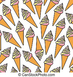 Soft serve ice cream cones retro seamless pattern - Cartoon...