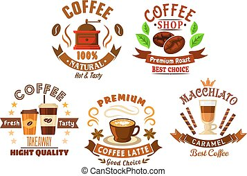Coffee shop design elements in cartoon style - Natural...