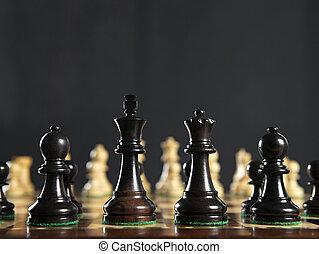 ajedrez, pedazos, tabla