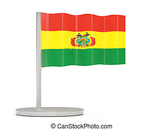 Pin with flag of bolivia 3D illustration