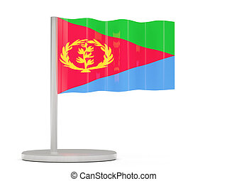 Pin with flag of eritrea 3D illustration