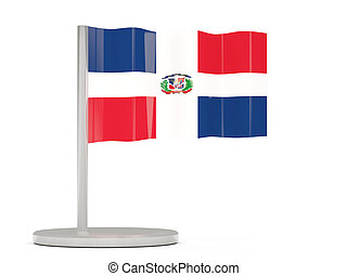 Pin with flag of dominican republic 3D illustration