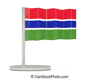 Pin with flag of gambia 3D illustration