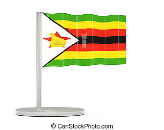 Pin with flag of zimbabwe 3D illustration