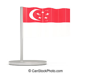 Pin with flag of singapore. 3D illustration