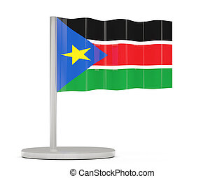 Pin with flag of south sudan 3D illustration