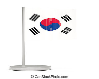 Pin with flag of korea south 3D illustration