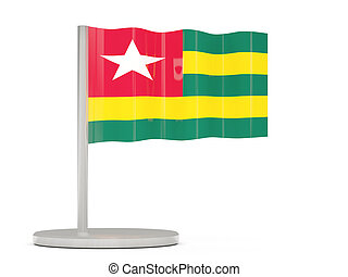Pin with flag of togo 3D illustration