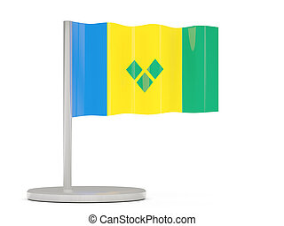 Pin with flag of saint vincent and the grenadines 3D...