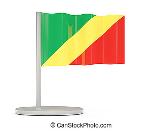 Pin with flag of republic of the congo 3D illustration
