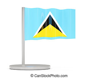 Pin with flag of saint lucia 3D illustration