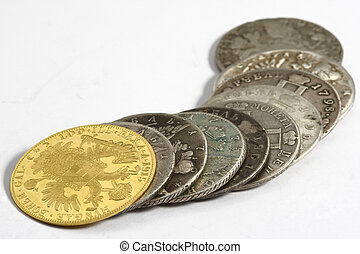 acient coins on the white background