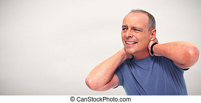 Senior man with a neck pain. - Senior man with a neck pain...
