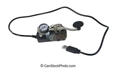 Morse, código, telégrafo, llave,  Usb