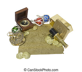 Pirate map with coins and bars, compass, gold, and telescope