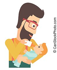Man feeding baby. - A hipstre man with the beard feeding a...